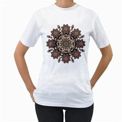 Mandala Pattern Round Brown Floral Women s T Shirt (white) (two Sided)