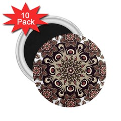 Mandala Pattern Round Brown Floral 2 25  Magnets (10 Pack)