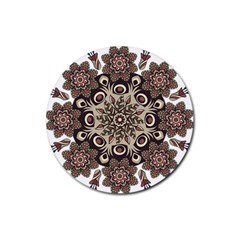 Mandala Pattern Round Brown Floral Rubber Round Coaster (4 Pack)