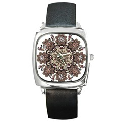 Mandala Pattern Round Brown Floral Square Metal Watch