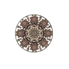 Mandala Pattern Round Brown Floral Hat Clip Ball Marker (4 Pack)