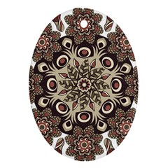 Mandala Pattern Round Brown Floral Oval Ornament (two Sides)