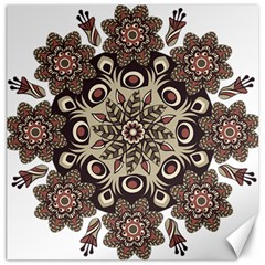 Mandala Pattern Round Brown Floral Canvas 12  X 12
