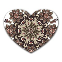 Mandala Pattern Round Brown Floral Heart Mousepads