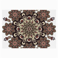 Mandala Pattern Round Brown Floral Large Glasses Cloth (2 Side)