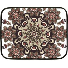 Mandala Pattern Round Brown Floral Double Sided Fleece Blanket (mini)