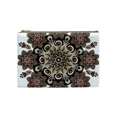 Mandala Pattern Round Brown Floral Cosmetic Bag (medium)