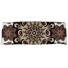Mandala Pattern Round Brown Floral Body Pillow Case Dakimakura (two Sides)