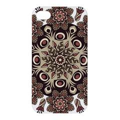 Mandala Pattern Round Brown Floral Apple Iphone 4/4s Premium Hardshell Case