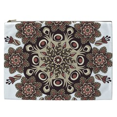 Mandala Pattern Round Brown Floral Cosmetic Bag (xxl)