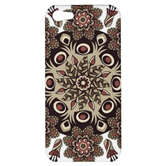 Mandala Pattern Round Brown Floral Apple Iphone 5 Hardshell Case