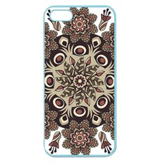 Mandala Pattern Round Brown Floral Apple Seamless Iphone 5 Case (color)
