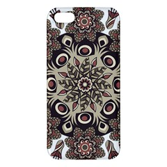 Mandala Pattern Round Brown Floral Apple Iphone 5 Premium Hardshell Case