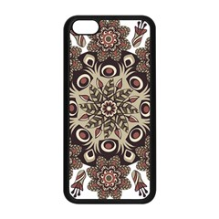 Mandala Pattern Round Brown Floral Apple Iphone 5c Seamless Case (black)