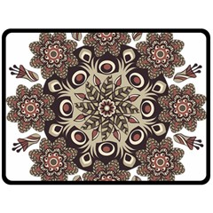 Mandala Pattern Round Brown Floral Double Sided Fleece Blanket (large)