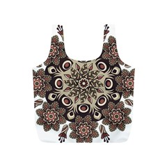 Mandala Pattern Round Brown Floral Full Print Recycle Bags (s)