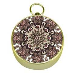 Mandala Pattern Round Brown Floral Gold Compasses