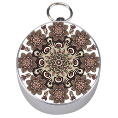Mandala Pattern Round Brown Floral Silver Compasses