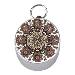 Mandala Pattern Round Brown Floral Mini Silver Compasses