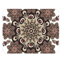 Mandala Pattern Round Brown Floral Double Sided Flano Blanket (large)