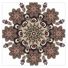 Mandala Pattern Round Brown Floral Large Satin Scarf (square)