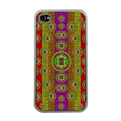 Rainbow Flowers In Heavy Metal And Paradise Namaste Style Apple Iphone 4 Case (clear)