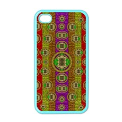 Rainbow Flowers In Heavy Metal And Paradise Namaste Style Apple Iphone 4 Case (color)