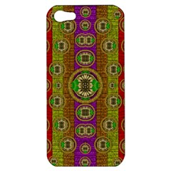Rainbow Flowers In Heavy Metal And Paradise Namaste Style Apple Iphone 5 Hardshell Case