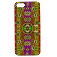 Rainbow Flowers In Heavy Metal And Paradise Namaste Style Apple Iphone 5 Hardshell Case With Stand