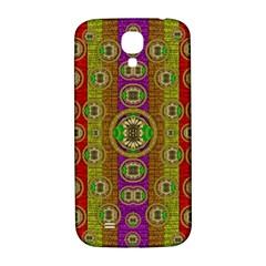 Rainbow Flowers In Heavy Metal And Paradise Namaste Style Samsung Galaxy S4 I9500/i9505  Hardshell Back Case