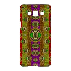 Rainbow Flowers In Heavy Metal And Paradise Namaste Style Samsung Galaxy A5 Hardshell Case