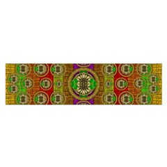 Rainbow Flowers In Heavy Metal And Paradise Namaste Style Satin Scarf (oblong)