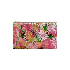Pink Flowers Floral Pattern Cosmetic Bag (small)