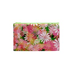 Pink Flowers Floral Pattern Cosmetic Bag (xs)