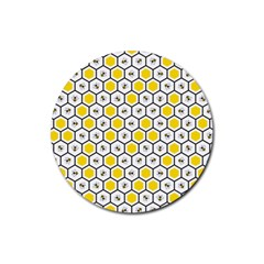 Bee Pattern Rubber Round Coaster (4 Pack)