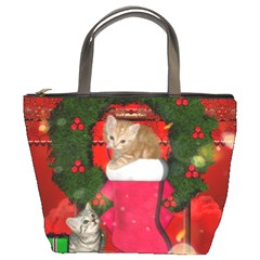 Christmas, Funny Kitten With Gifts Bucket Bags