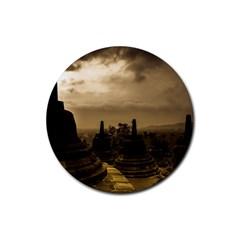 Borobudur Temple Indonesia Rubber Round Coaster (4 Pack)