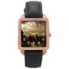 Borobudur Temple Indonesia Rose Gold Leather Watch