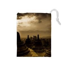 Borobudur Temple Indonesia Drawstring Pouches (medium)