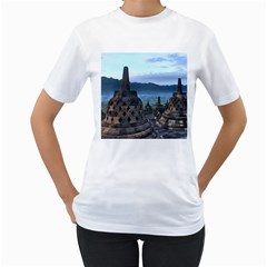 Borobudur Temple  Morning Serenade Women s T Shirt (white) (two Sided)