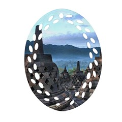 Borobudur Temple  Morning Serenade Oval Filigree Ornament (two Sides)