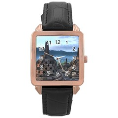 Borobudur Temple  Morning Serenade Rose Gold Leather Watch