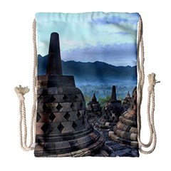 Borobudur Temple  Morning Serenade Drawstring Bag (large)