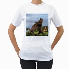 Komodo Dragons Fight Women s T Shirt (white) (two Sided)