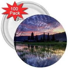 Tamblingan Morning Reflection Tamblingan Lake Bali  Indonesia 3  Buttons (100 Pack)