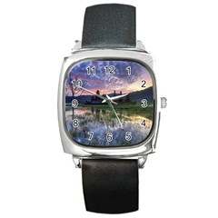 Tamblingan Morning Reflection Tamblingan Lake Bali  Indonesia Square Metal Watch