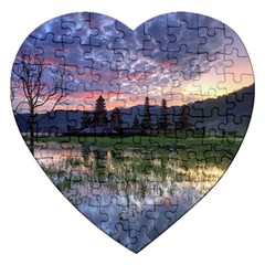 Tamblingan Morning Reflection Tamblingan Lake Bali  Indonesia Jigsaw Puzzle (heart)
