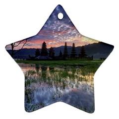 Tamblingan Morning Reflection Tamblingan Lake Bali  Indonesia Star Ornament (two Sides)