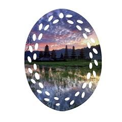 Tamblingan Morning Reflection Tamblingan Lake Bali  Indonesia Oval Filigree Ornament (two Sides)