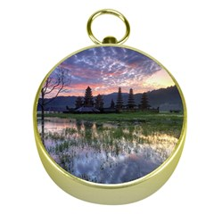 Tamblingan Morning Reflection Tamblingan Lake Bali  Indonesia Gold Compasses